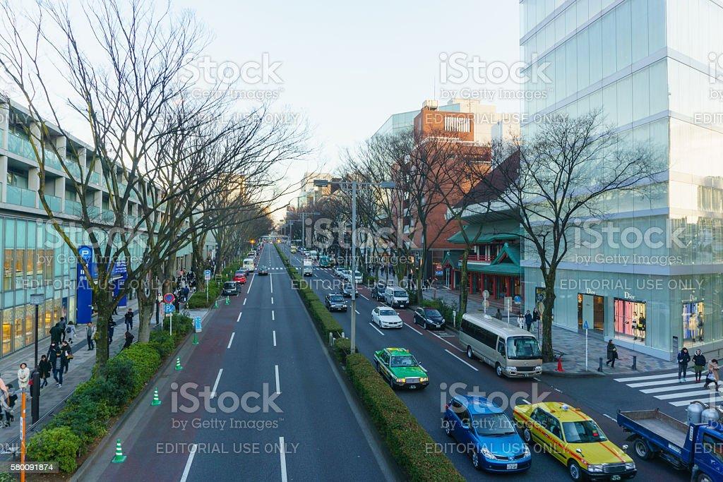 Omote Sando Road in evening stock photo