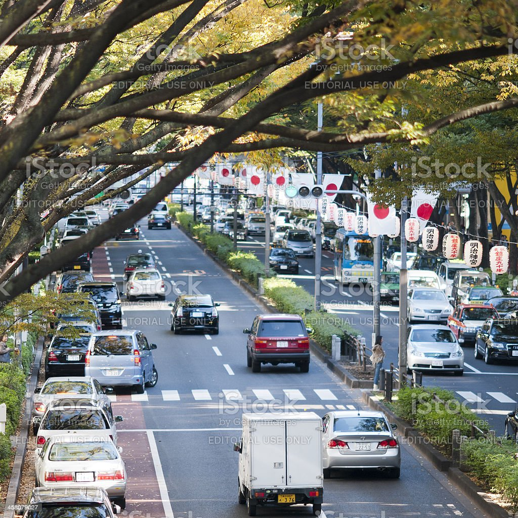 Omotesando street in Tokyo decorated royalty-free stock photo