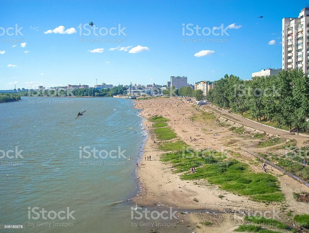 Omsk main public beach. View from the bridge. Irtysh river stock photo
