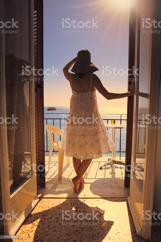 On a balcony with seaview stock photo