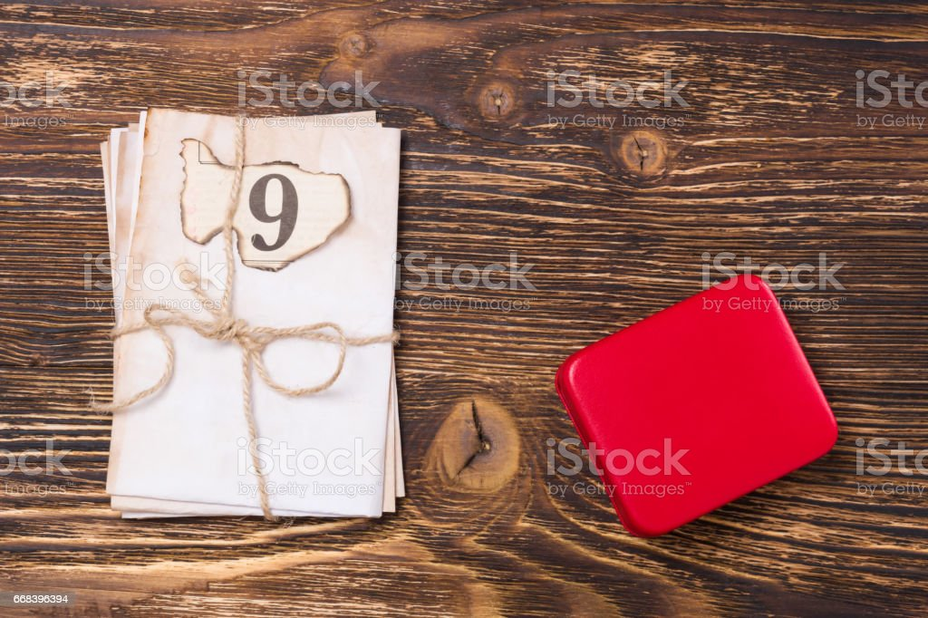 On a beautiful wooden table the concept of letters and awards stock photo