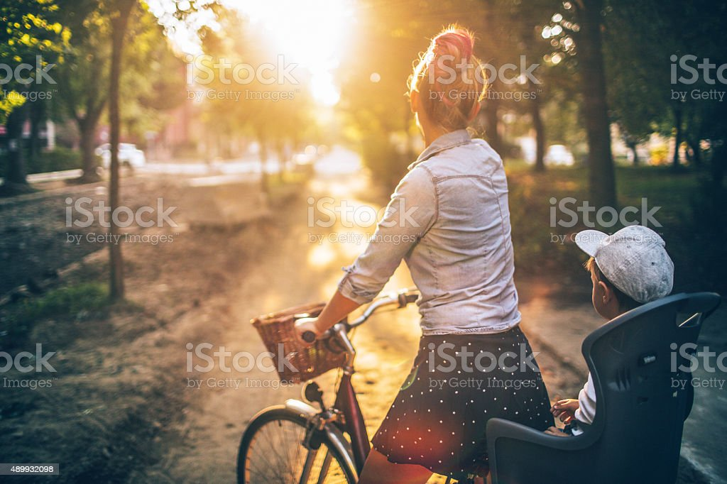 On a bicycle stock photo