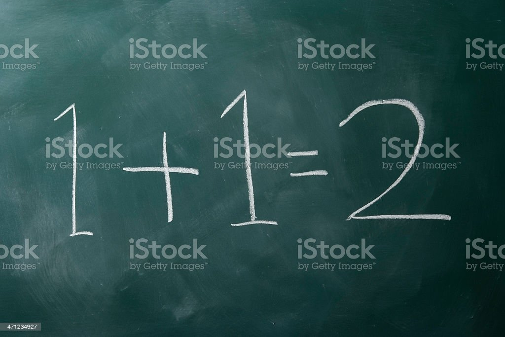 1+1=2 on a blackboard royalty-free stock photo