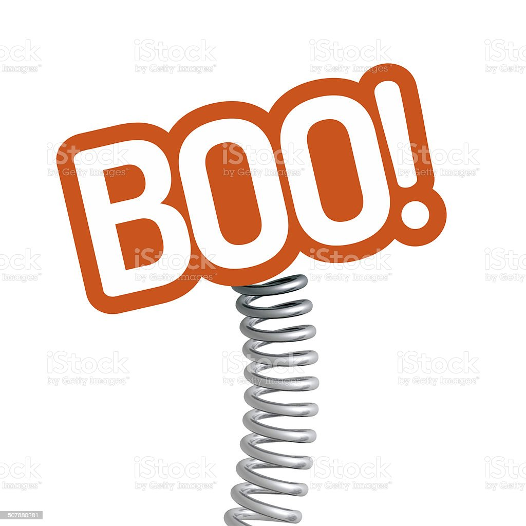 BOO! on a bouncy spring stock photo