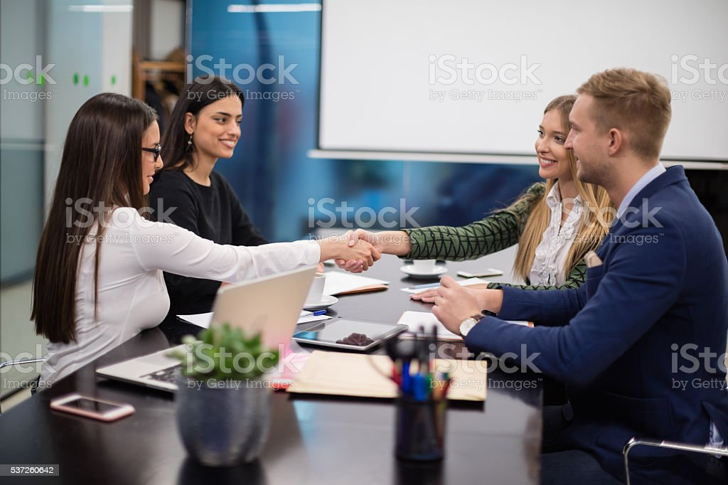 On a business meeting stock photo