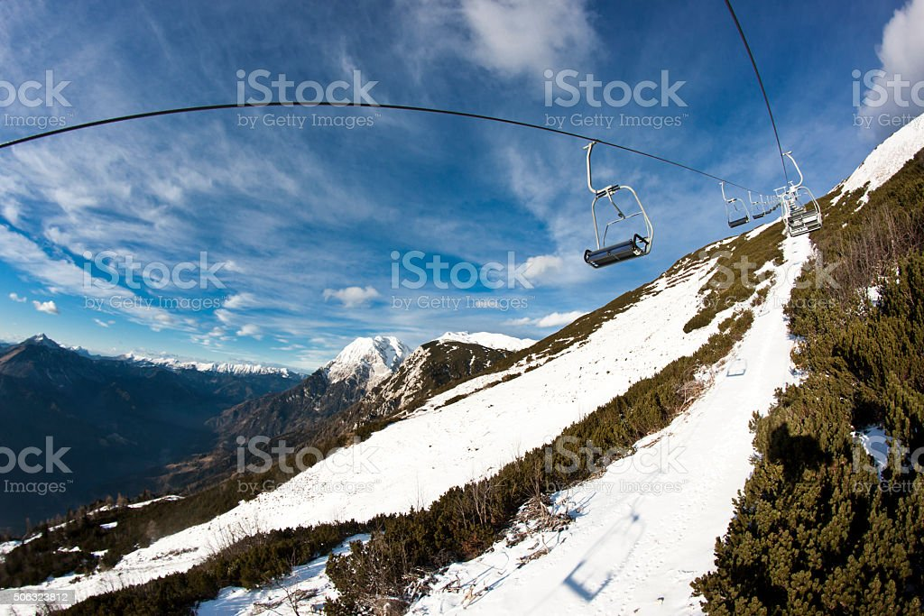 On a chairlift stock photo