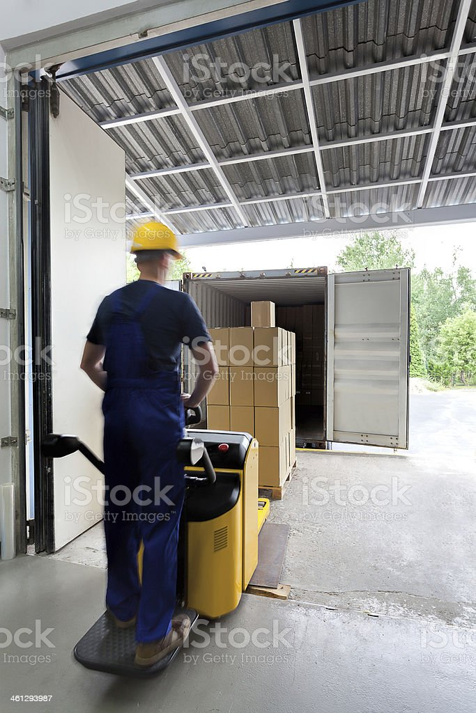 On a fork lift stock photo