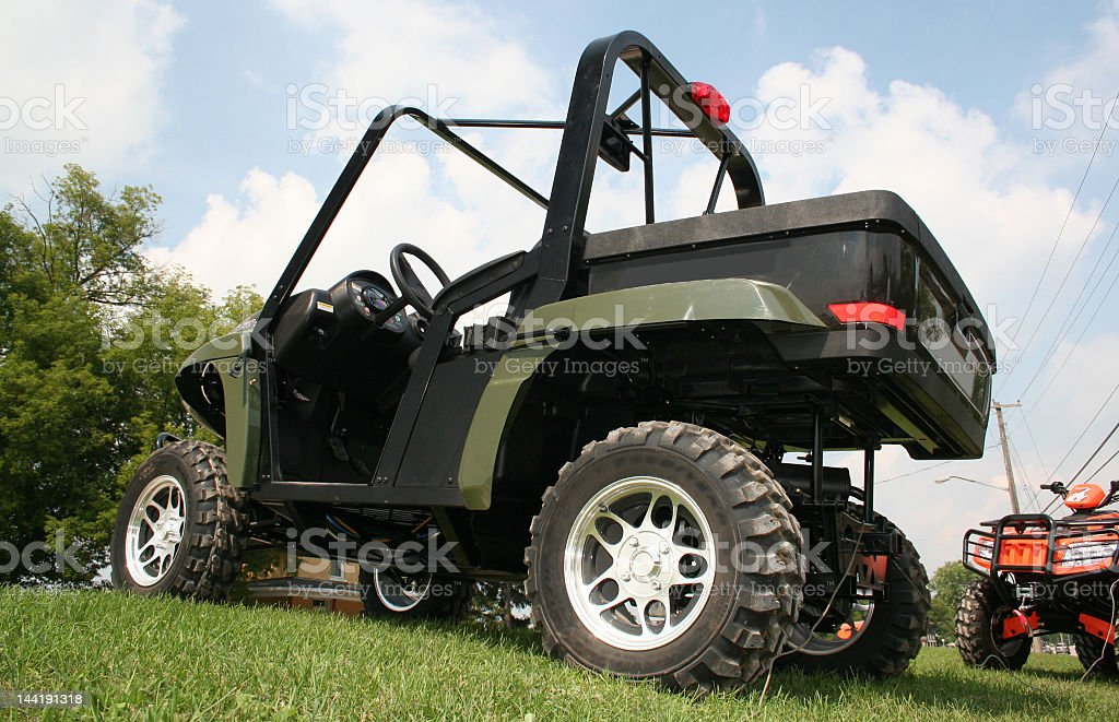 ATV on a lawn royalty-free stock photo