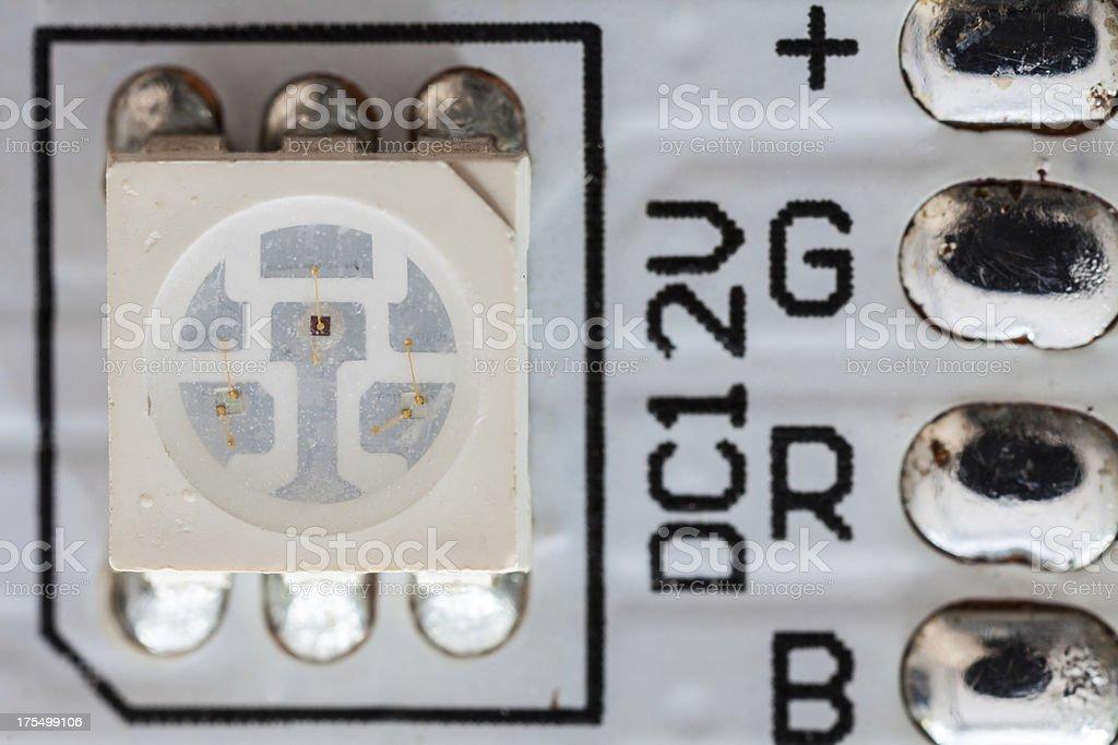 SMD 5050 RGB LED on a led-strip stock photo