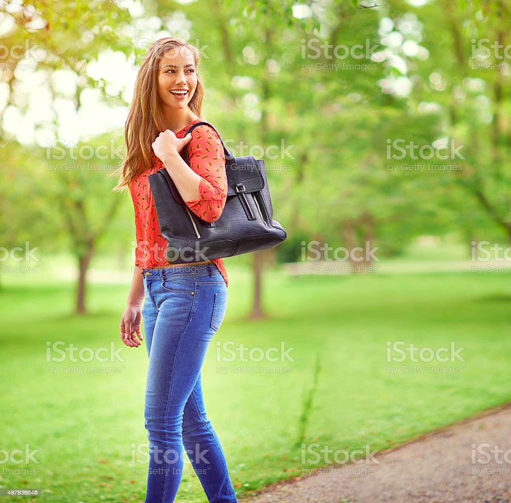 On a leisurely stroll through the park stock photo