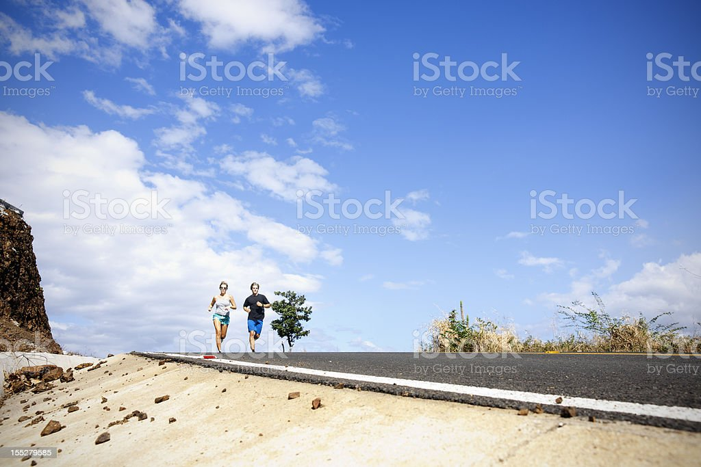 On a long run stock photo