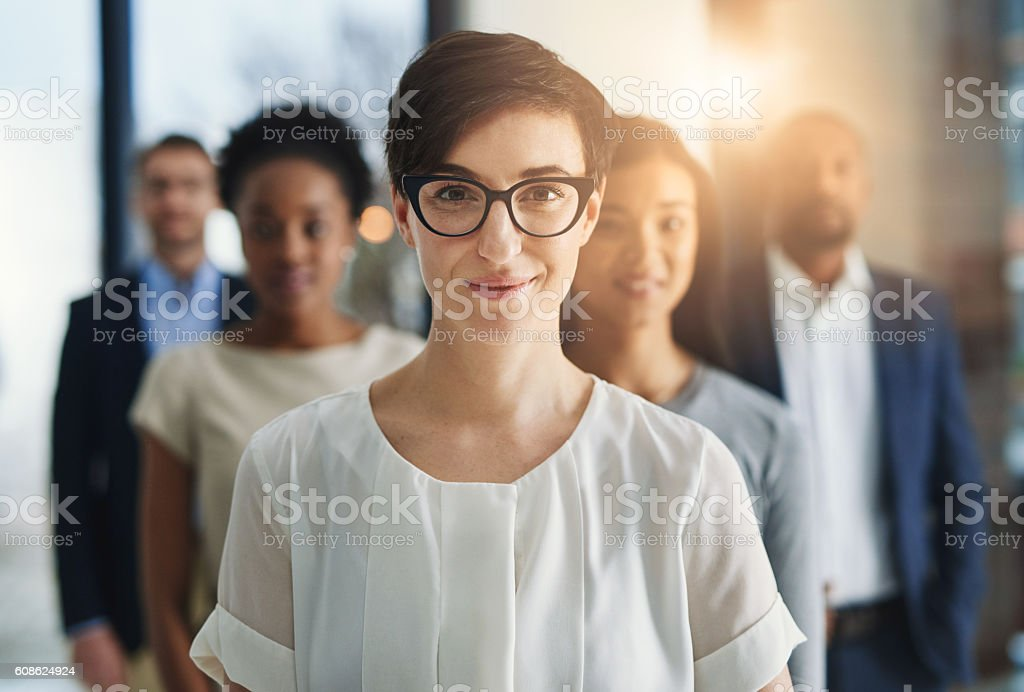On a mission to achieve their corporate vision stock photo