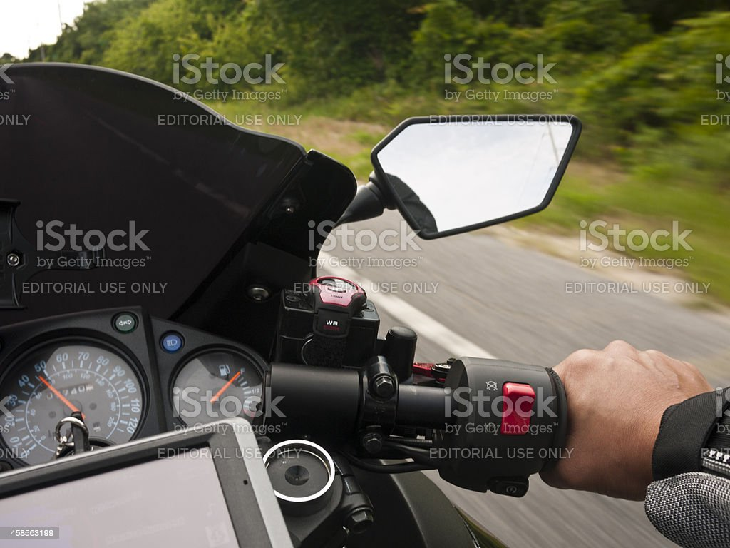 GPS on a motorcycle stock photo