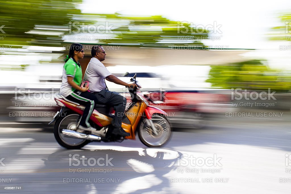 On a motorcycle royalty-free stock photo