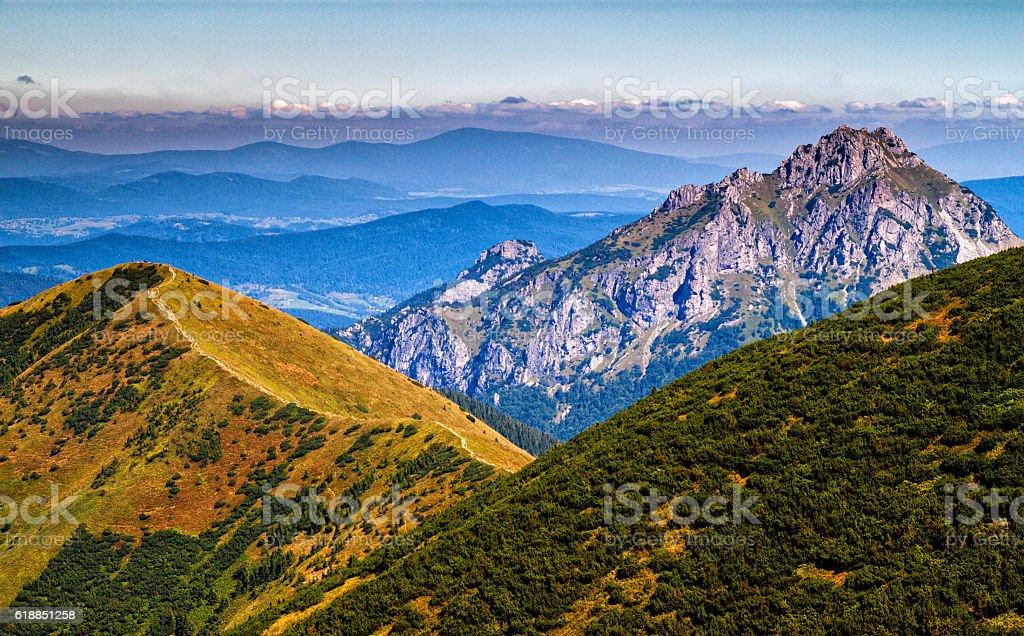 On a mountain ridge of Low Fatra, Velky Rozsutec, Slovakia stock photo