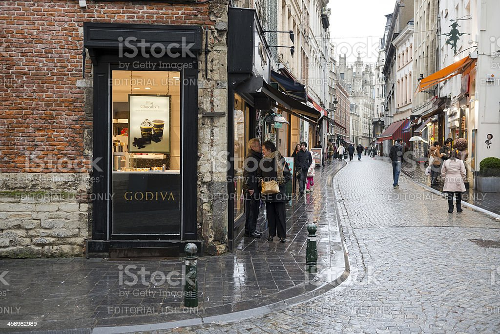 Godiva chocolate and people in Brussels stock photo