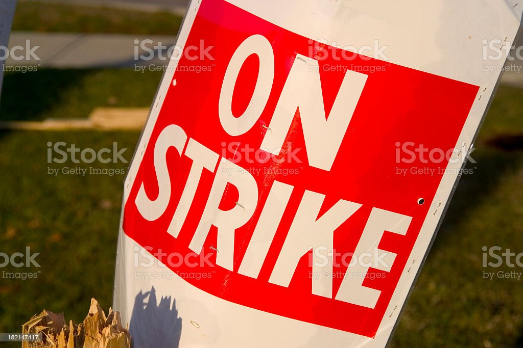 On a Strike sign in red and white poster stock photo