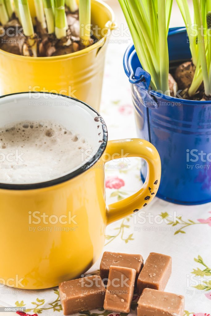 on a tray with a yellow cup of coffee, toffee and a bucket of flowers with bulbs. stock photo