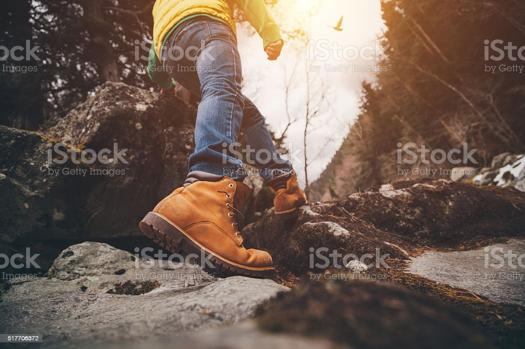 On a walk. Hiker walking in a forest. stock photo