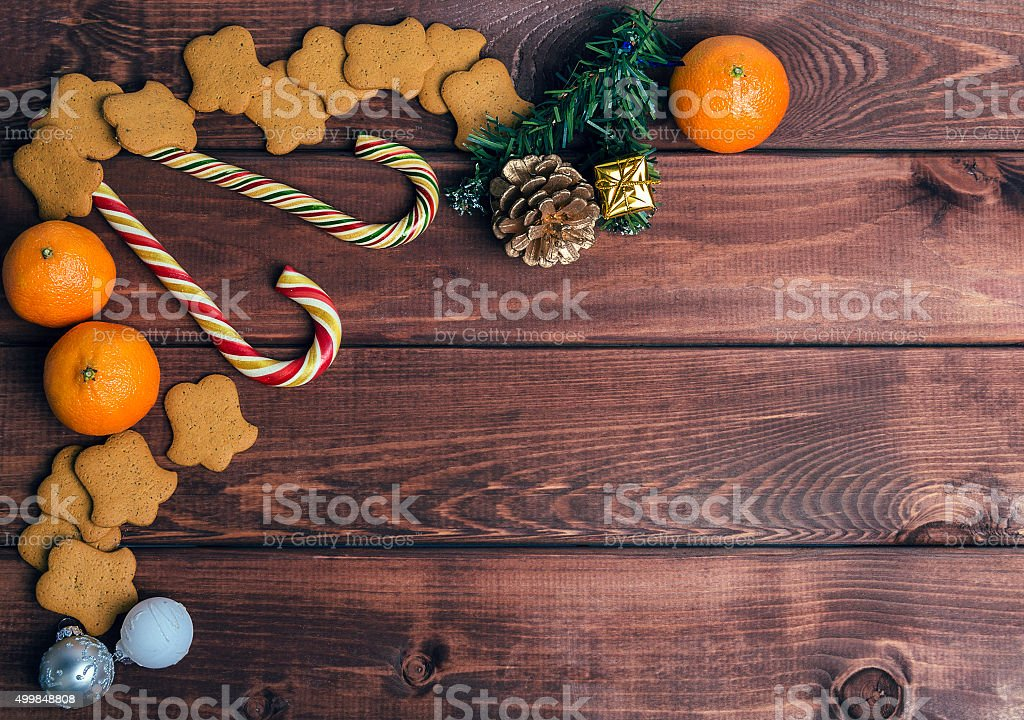 On a wooden desk background Christmas composition stock photo