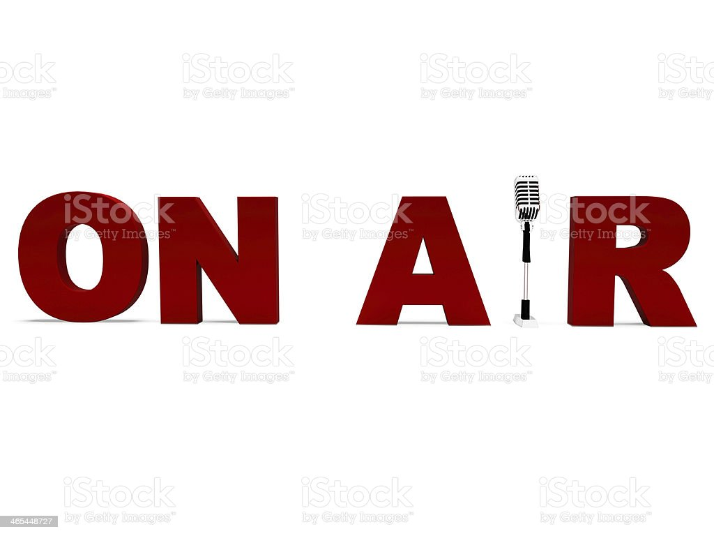 On Air Microphone Shows Broadcast Studio Or Live Radio stock photo