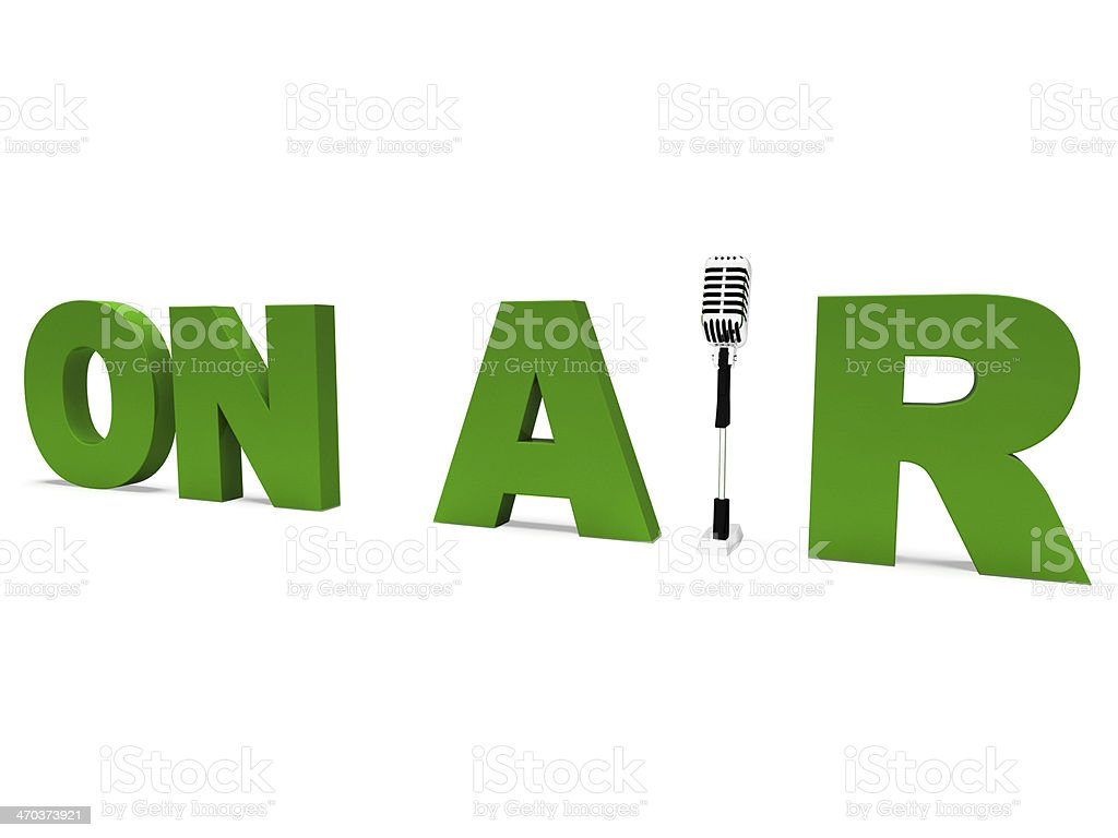 On Air Shows Broadcasting Studio Or Live Radio stock photo