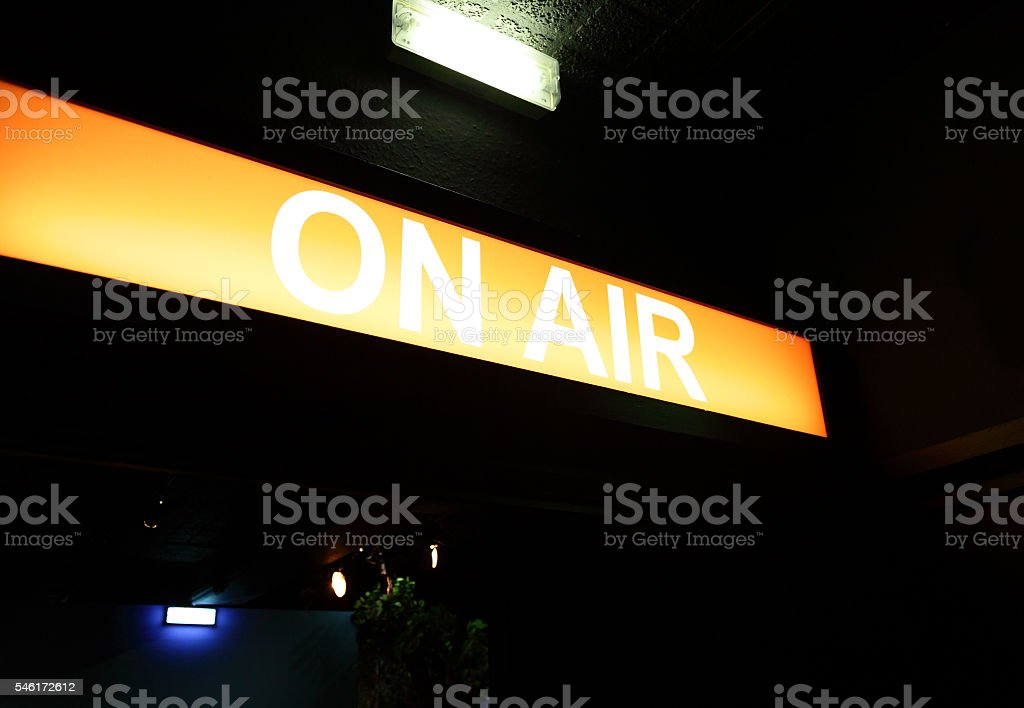on air sign at television studio stock photo