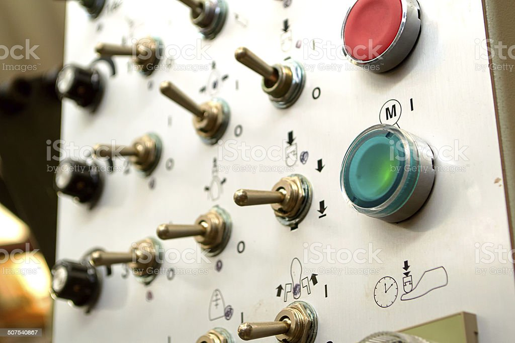 on and off buttons for industrial machinery stock photo
