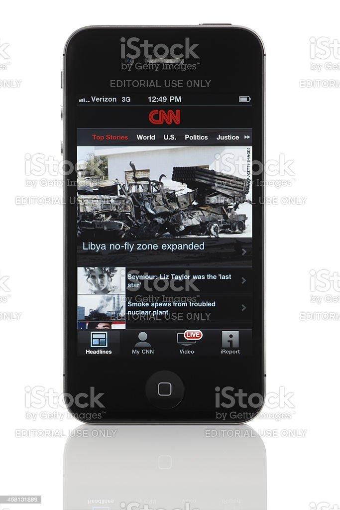 CNN on Apple iPhone 4 royalty-free stock photo