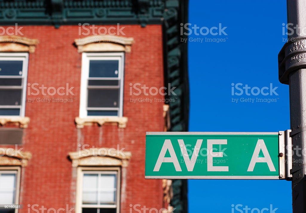 On Avenue A in the Lower East Side of Manhattan, New York stock photo