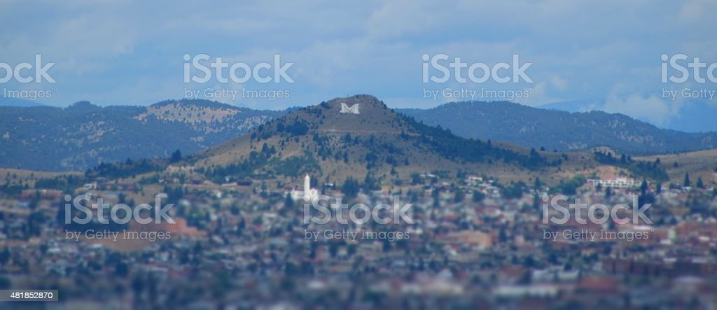 'M' on Big Butte, Town of Butte, Montana stock photo