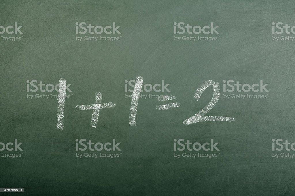 1+1=2 on Blackboard stock photo