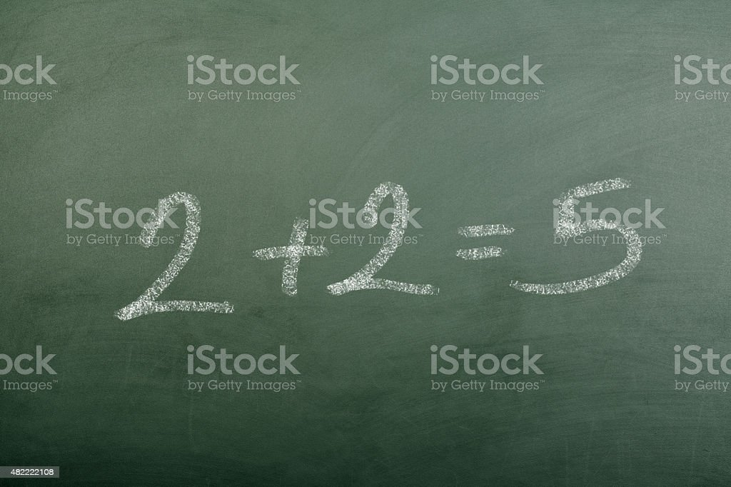 2+2=5 on Blackboard stock photo