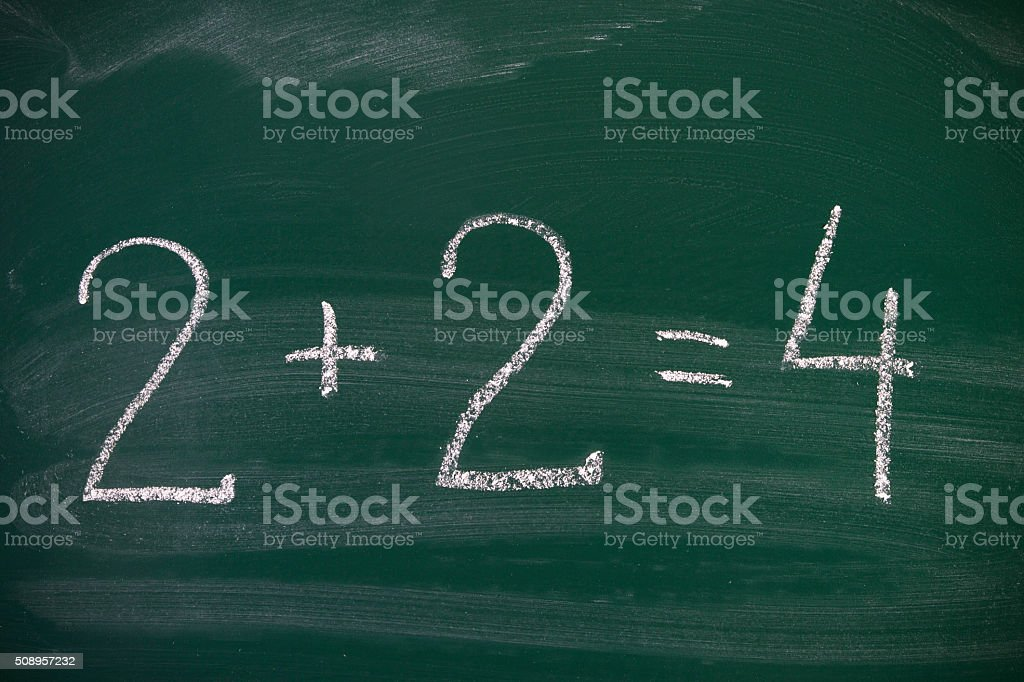 2+2=4 on Blackboard stock photo