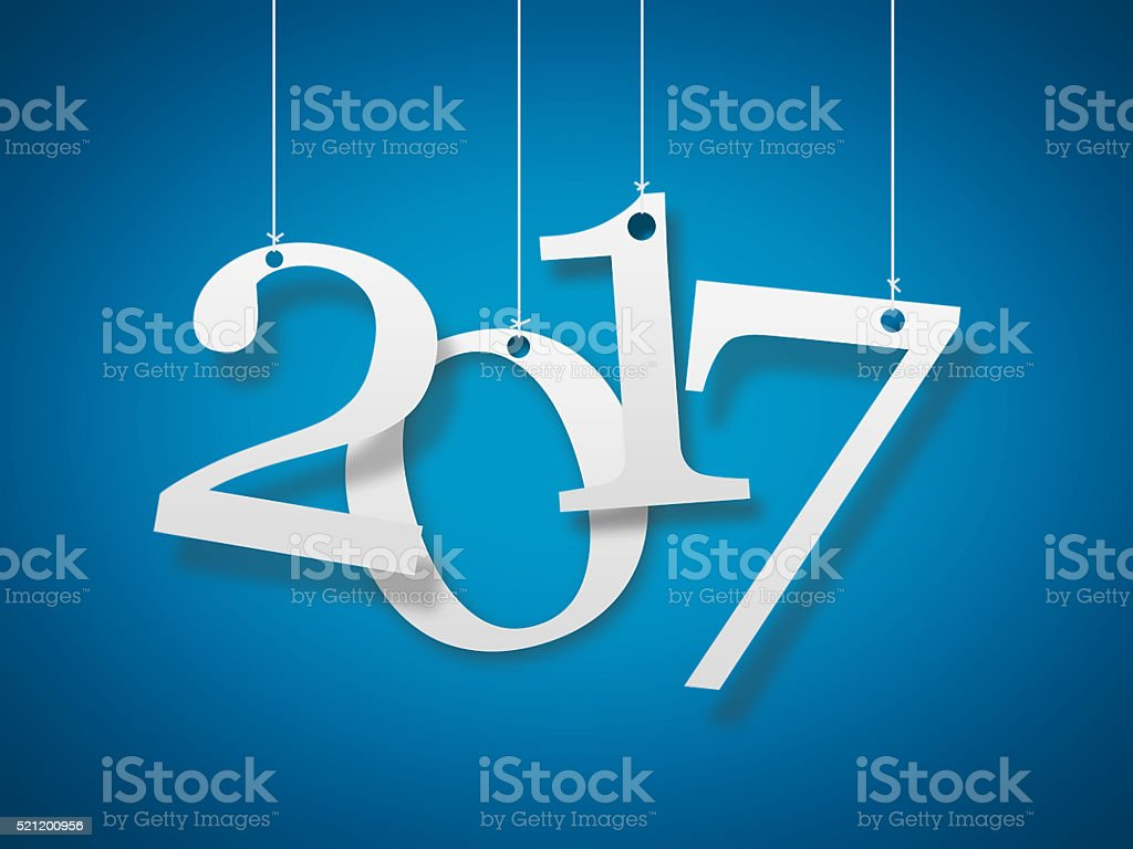 2017 on blue background stock photo