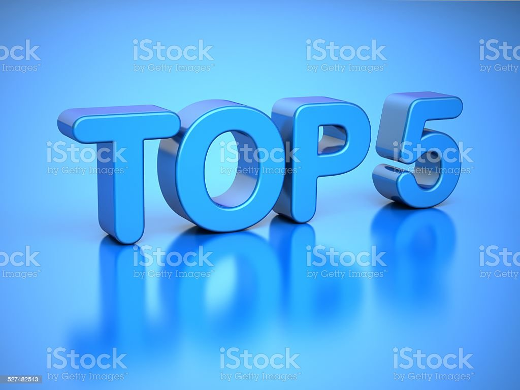 TOP 5 on Blue Background stock photo