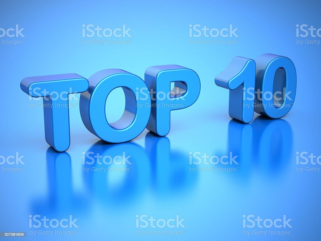 TOP 10 on Blue Background stock photo