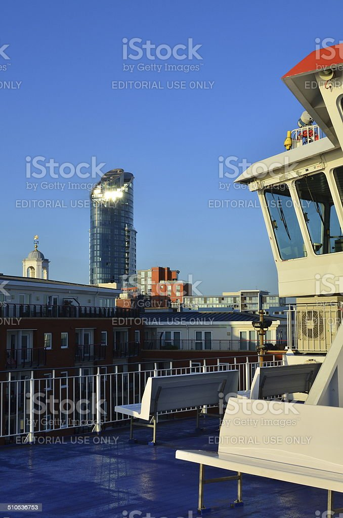 On board a ferry at Portsmouth. stock photo