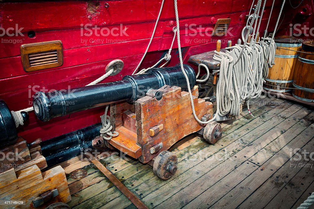 On board the medieval military sailing ship royalty-free stock photo