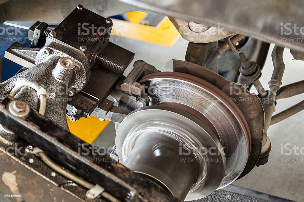 On car brake lathe working stock photo