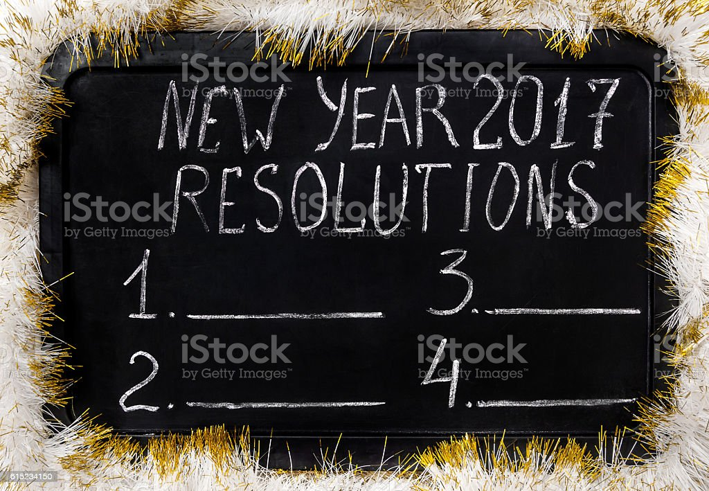 On chalkboard - 'Resolution for 2017 new year' stock photo