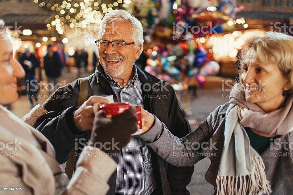 On Christmas market stock photo