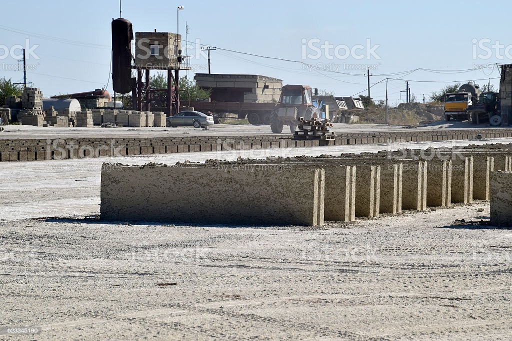 on cinder block production plant. Machinery and plant products stock photo