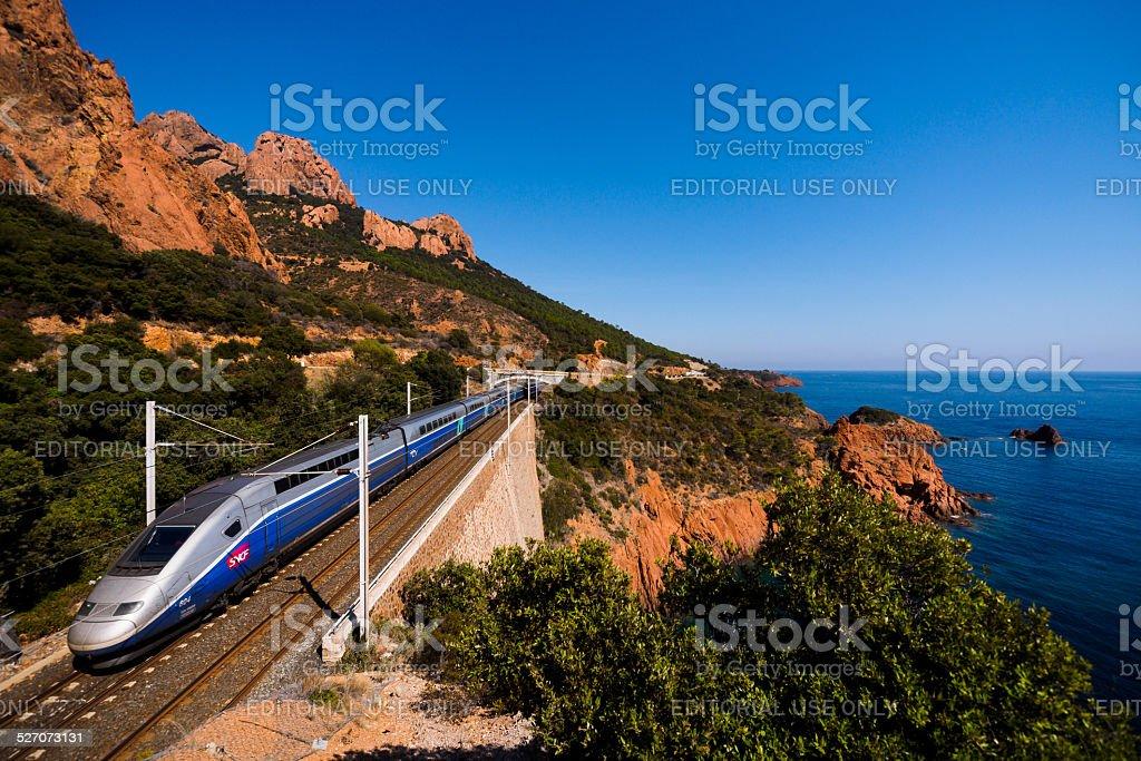 TGV on coast stock photo