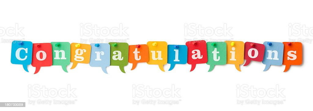 CONGRATULATIONS on colourful speech bubbles stock photo