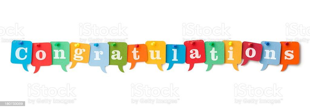 CONGRATULATIONS on colourful speech bubbles stock photo