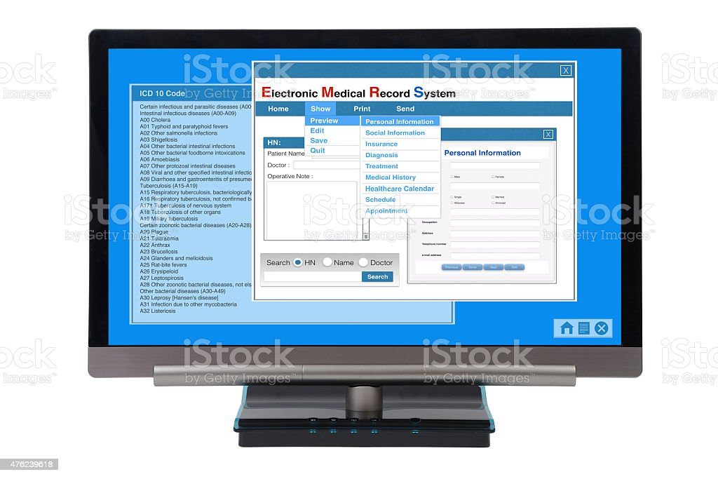 EMR on computer. stock photo