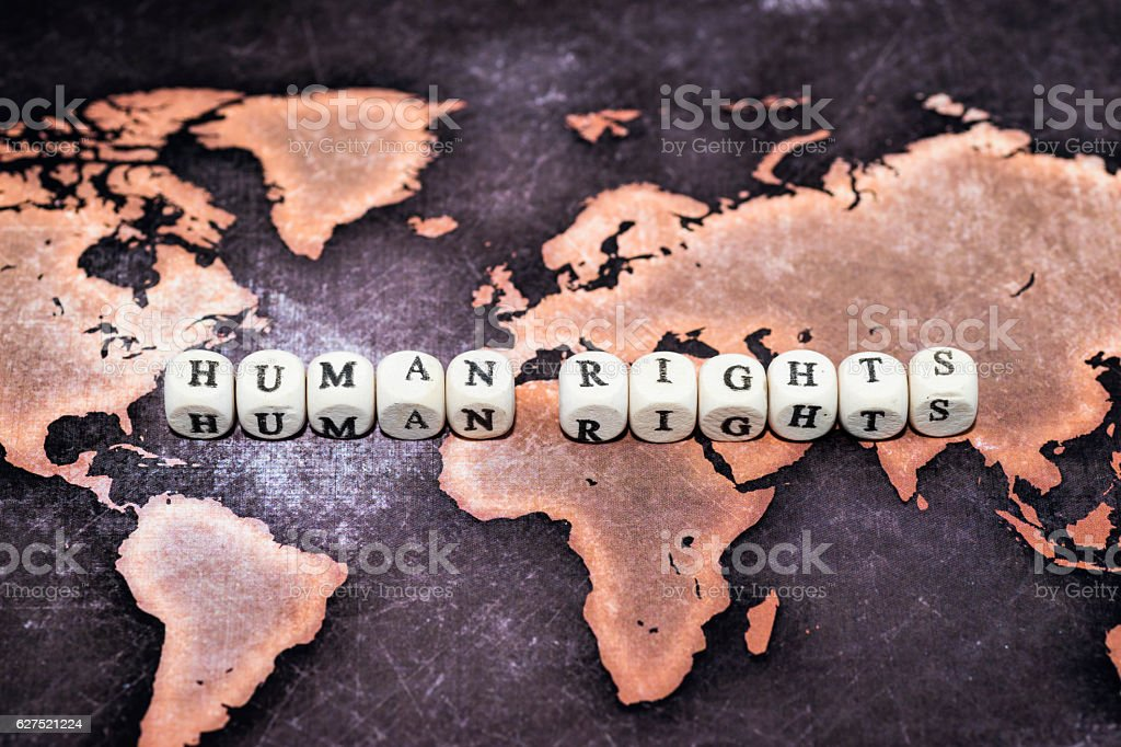 HUMAN RIGHTS on cubes, conceptual image stock photo