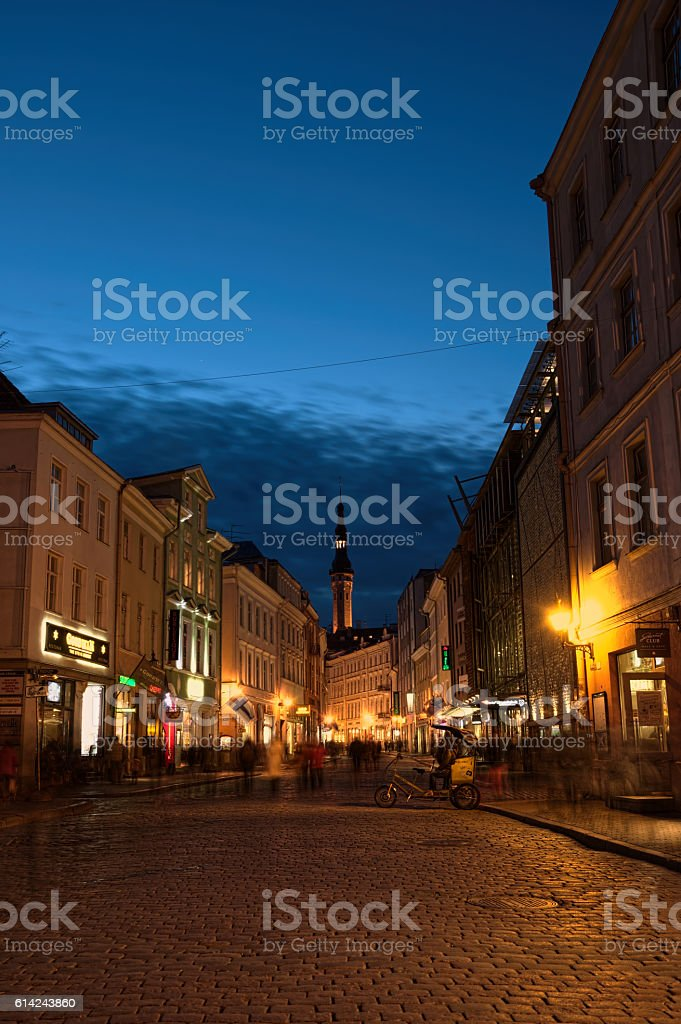 On deserted streets of Tallinn. stock photo