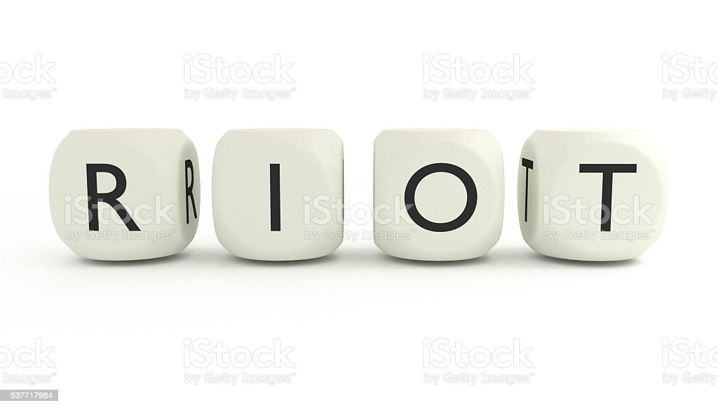 RIOT on dices stock photo